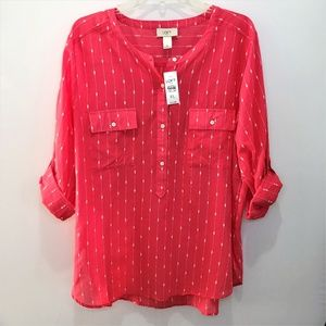 LOFT Women's Striped Pink & White ¾ Tab Sleeve XL